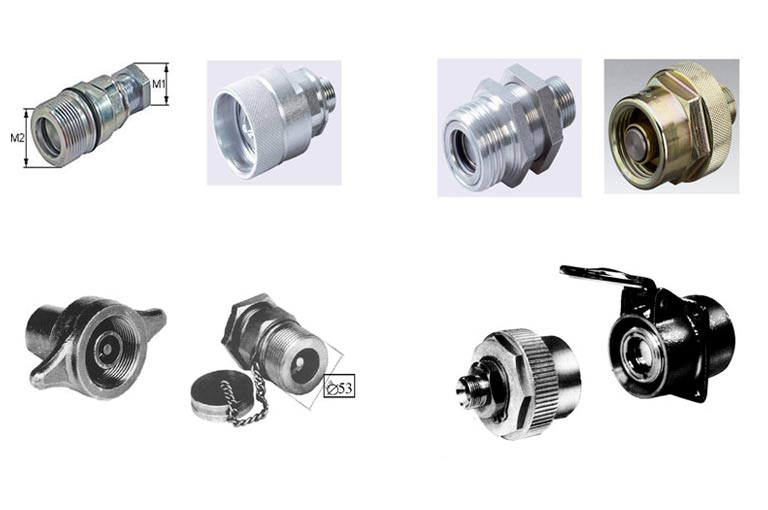 Various hose couplings for individual combinations of the hydraulic system with trailers from all manufacturers