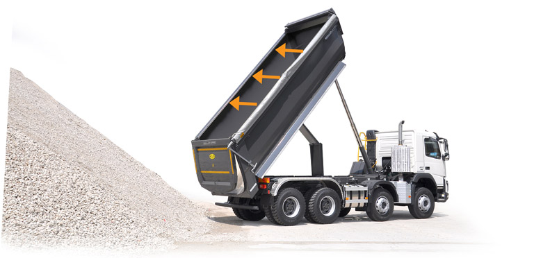 Rear tipper side roll-up tarpaulin