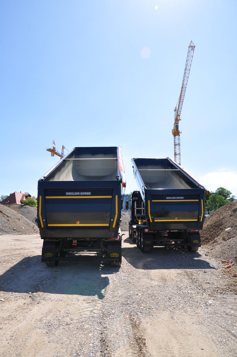 Tipping semi-trailers at site