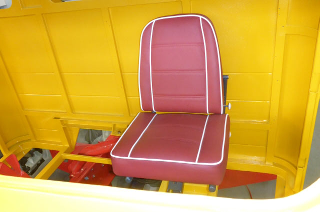 The old driver's seat newly upholstered