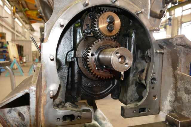 The spurn pinion in the engine